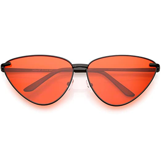 0e17f49ff7 sunglassLA - Oversize Cat Eye Sunglasses Thin Metal Frame Color Tinted Flat  Lens 64mm (Black