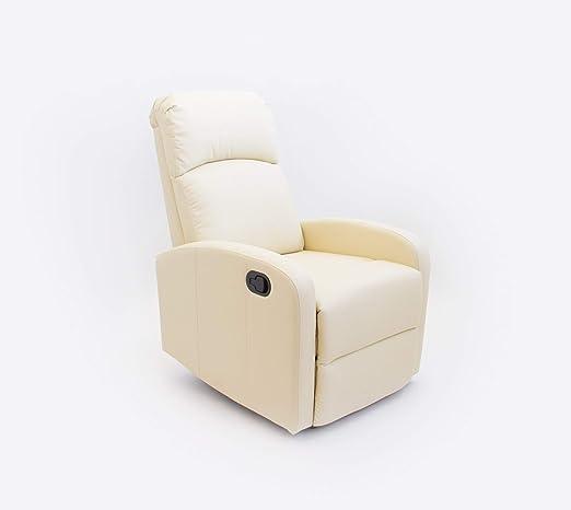 Astan Hogar Confort Sillón Relax con Reclinación Manual, Tapizado en PU Anti-Cuarteo. Modelo Premium AH-AR30600CR, Crema