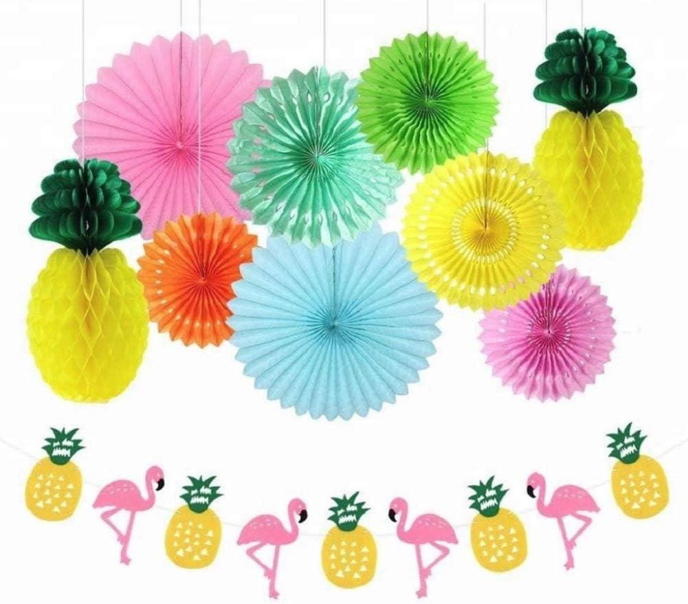 Hawaiian Luau Party Decorations Kit - Pink Flamingo Decor Pineapple Banner - Tropical Party Paper Fan Decoration - Birthday Beach Pool Aloha Parties - Hawaii Summer Theme Garland by Jolly Jon