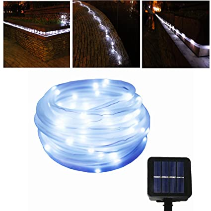 Amazon julyfire white 50 led 165 foot solar powered rope julyfire white 50 led 165 foot solar powered rope string garden light for indoor aloadofball Image collections