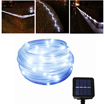 Amazon julyfire white 50 led 165 foot solar powered rope amazon julyfire white 50 led 165 foot solar powered rope string garden light for indooroutdoor rope solar christmas light garden outdoor mozeypictures Images