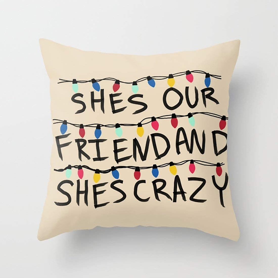 17.7in*17.7in zhongjiany Stranger Things Throw Pillowcase Sofa Pillow Case Cushion Cover for Car Bed Decoration