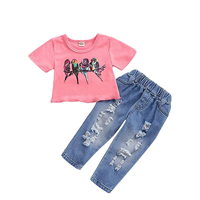 b7a40c6ac Amazon.com: Toddler Baby Girl Short Sleeve Shirt Tops Denim Pants Ripped  Jeans Outfits Set 1-5Y: Clothing