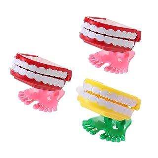 STOBOK Wind up Walking Toys Babbling Denti Giocattoli Regali per Bambini 3 Pezzi (Colore Casuale)