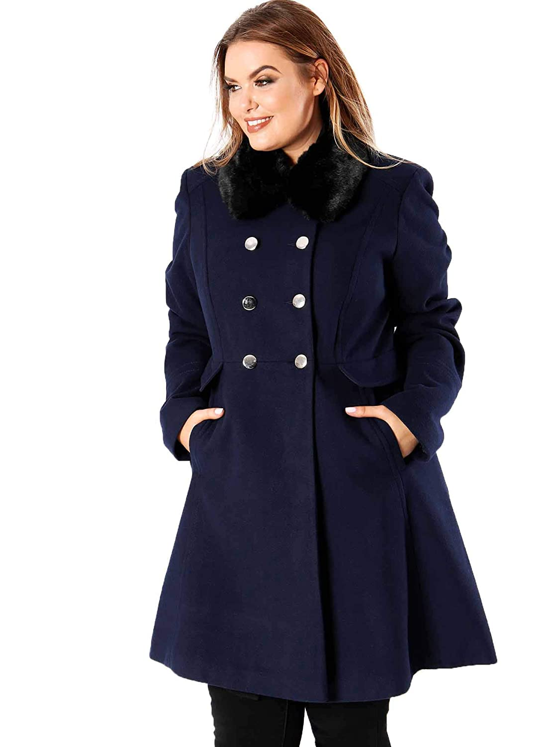 216fa97012a Lovedrobe Women s Plus Size Faux Fur Collar Navy Blue Double Breasted Coat  (20)  Amazon.co.uk  Clothing