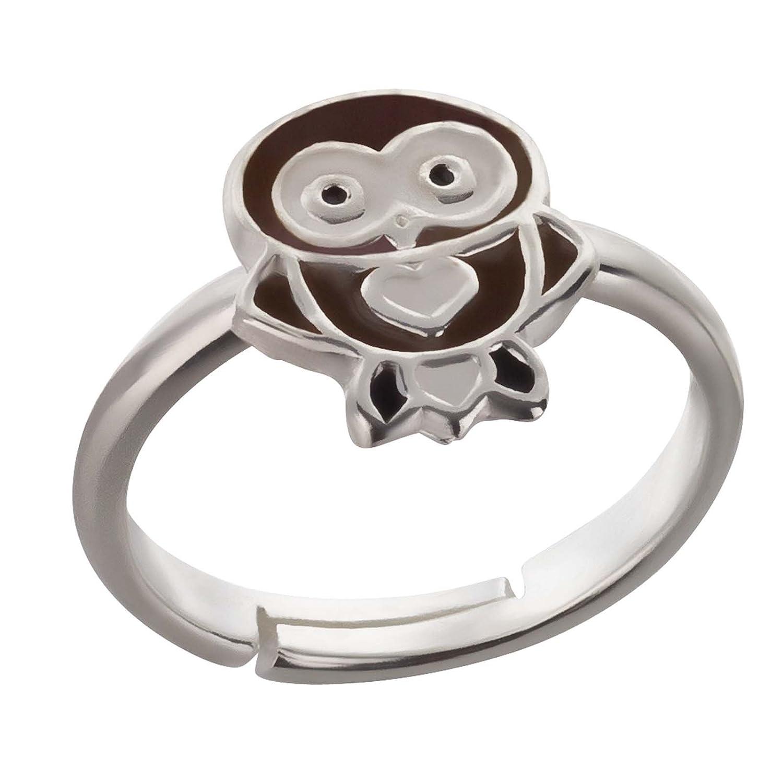 SL de Silver Niños anillo búho pequeño Corazón Tamaño ajustable 925plata de ley en del paquete de regalo SL-Silver SL-kinderring6blau