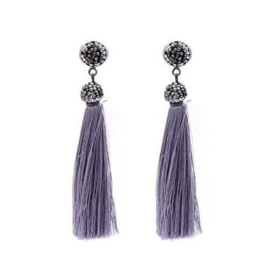 41269052c13e8f Bohemia Long Tassel Earrings Women Black Rhinestone Drop Dangle Earrings  (Grey)