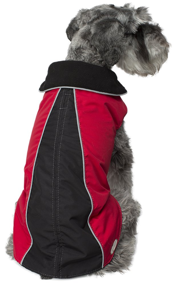 Legitimutt Storm Tech with Fleece Geometric Dog Coat, Size 26, Red Black