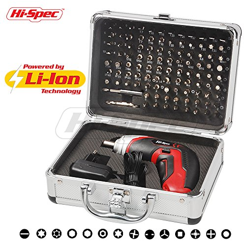4 Piece Cordless Power Tool (Hi-Spec Cordless 3.6V 1300mAh Li-ion Battery Power 4 LED Screwdriver & 102 Piece Insert Bit Set for Repair of Appliances, Electronic Gadgets, Toys, Laptops & Smartphones in Aluminium Case)