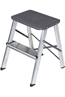 VICRIS - Taburete escalera plegable 2 peldaños - Acero - Blanco / Rojo: Amazon.es: Bricolaje y herramientas