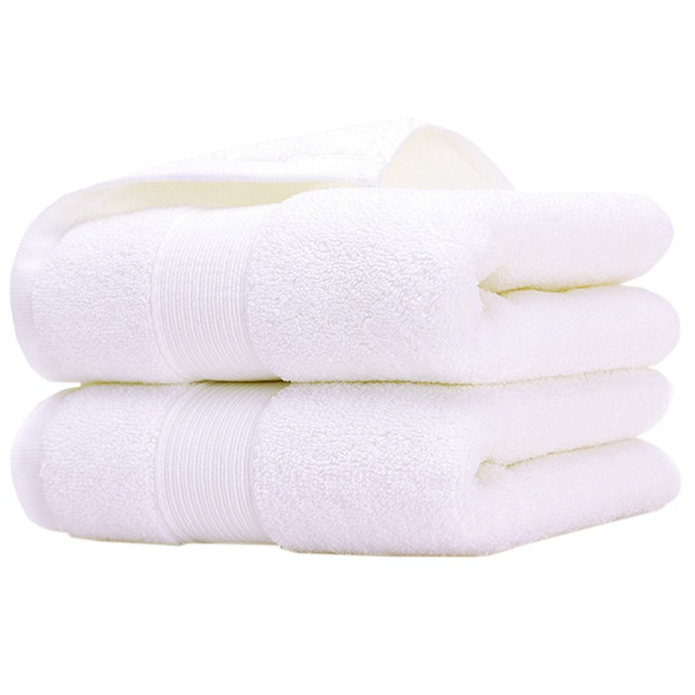 Pidada Hand Towels Set of 2 100% Cotton Highly Absorbent Soft Hand Towel for Bathroom 14 x 30 Inch (White)