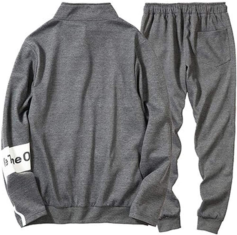 Puluo Tuta da Uomo con Stampa e Cuciture Larghe con Cerniera con Cappuccio e Pantaloni Abbigliamento Sportivo da Uomo Casual