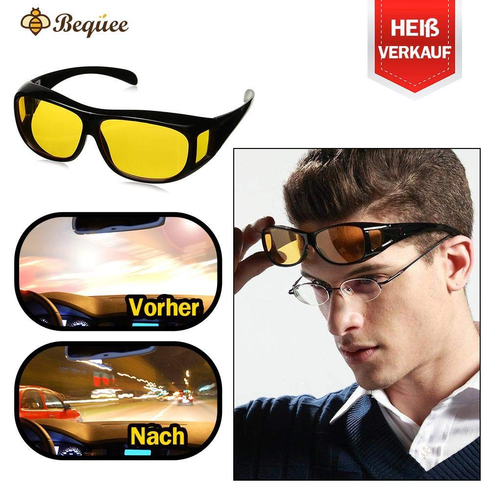 Bequee Gelbe Anti-Glanz Nachtfahrbrille - sicheres Fahren, geeignet für unterschiedliche Brillengrößen
