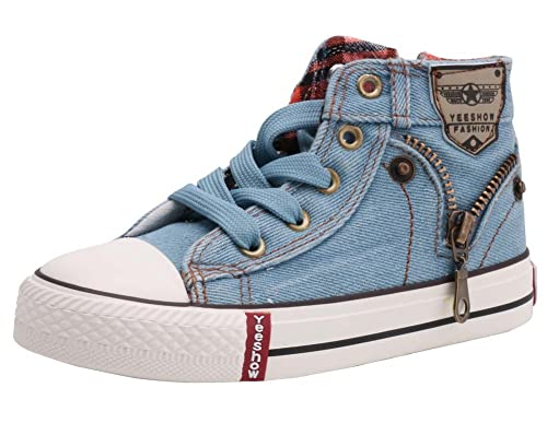 b6226b1da92e5 LONSOEN Kids Hi-Top Lace Up Fashion Sneakers Light Blue, 13.5 UK ...