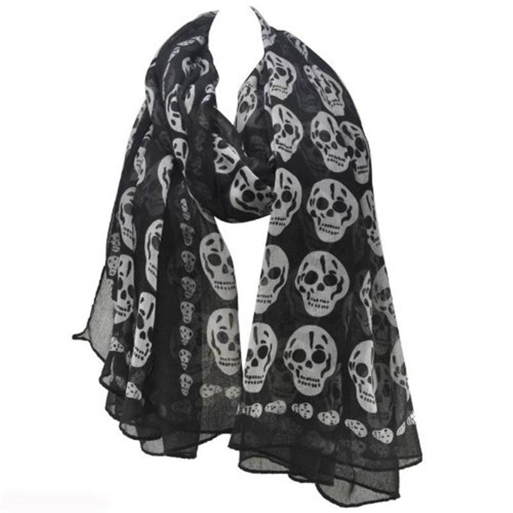homiki Unisex Estampado Pañuelo/Bufanda de seda para damas de moda Punk adorno de Crane PG