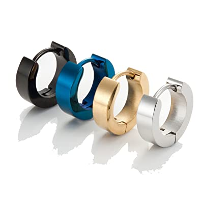 Jstyle Stainless Steel Black Unique Small Hoop Earrings for Men 1-4 Pairs Huggie Earrings twz77XPcjT
