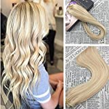 Moresoo 14 Inch Clip in Blonde Hair Extensions Human Hair Remy Hair Extensions Clip on Hair Color #14 Golden Blonde Highlighted with #613 Blonde Human Hair Extensions Clip in Hair 7PCS 120G