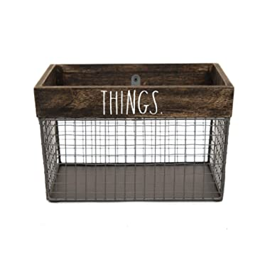 Rae Dunn by Designstyles Wire Storage Basket – Metal and Solid Wood Organizer – Decorative Folder Bin - for Office, Bedroom, Living Room, Closet and More