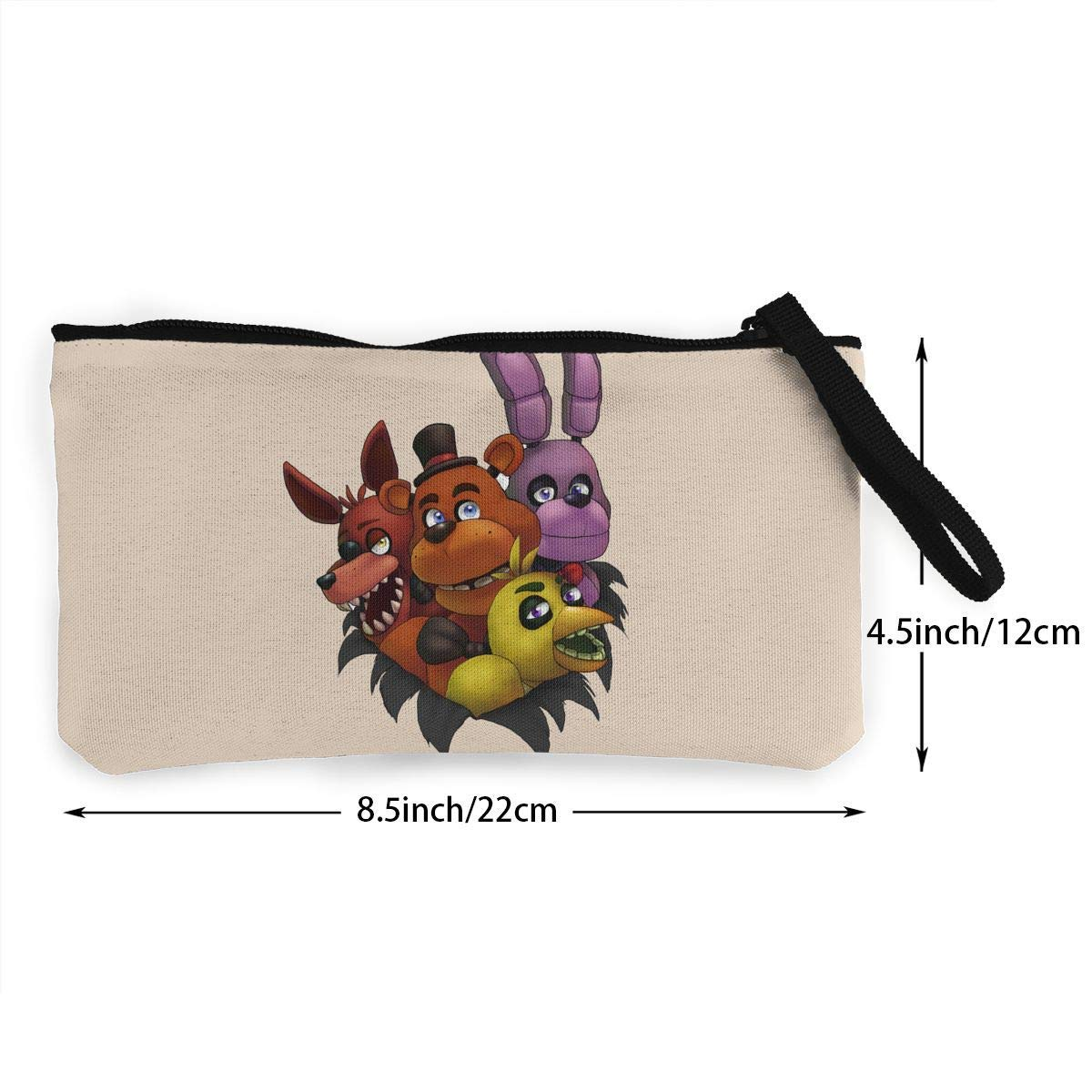 Five Nights At Freddys Canvas Cash Coin Purse Make Up Bag Cellphone Bag With Zipper And Handle