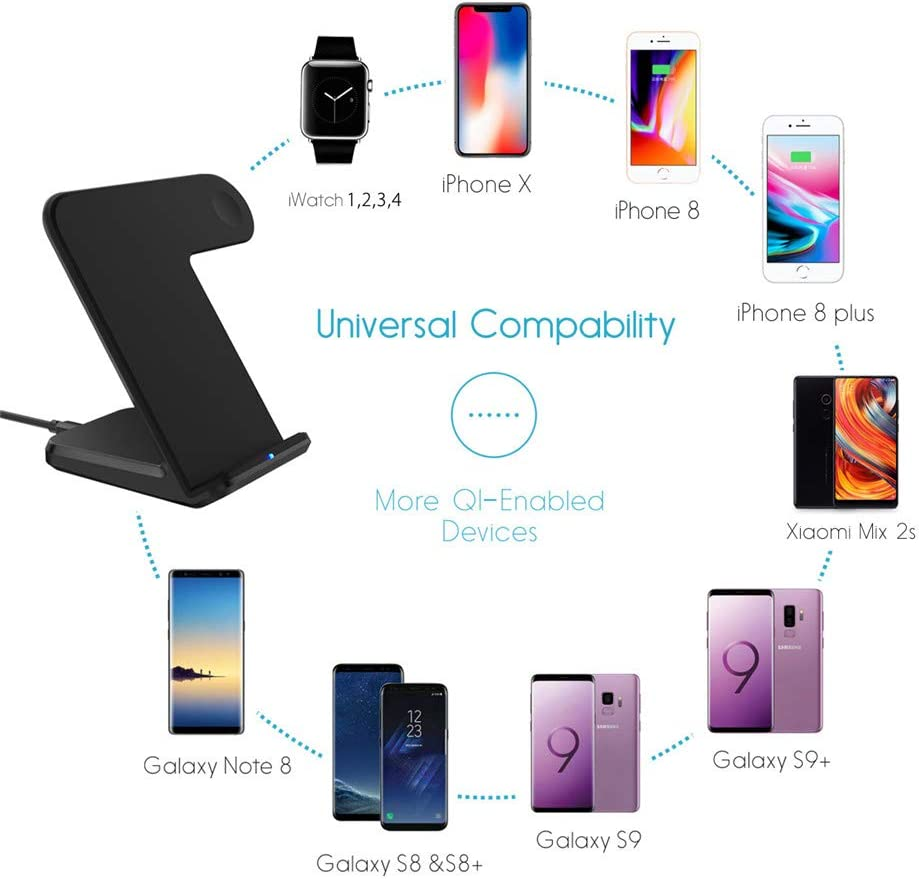 Universal,Black Wireless Fast Charger Base Compatible with Iwatch iPhone Xs//X // 8 Maxjoy Wireless Charger Compatible Iwatch 2 in 1 Wireless Charger Stand