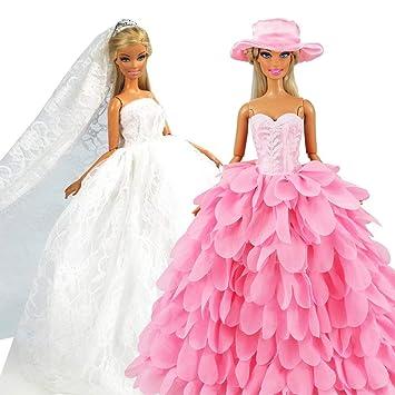 Miunana Robe De Mariee Blanche Avec Voile Robe Rose Princesse Avec Chapeau Pour Poupee Fille De 11 5 Pouce