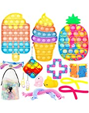 IDJWVU Pop Fidget Toy Pack,Push Popping Bubble Sensory Toy Set,Pop on Its Simple Dimple Autism Stress Anxiety Relief Squeeze Bundle Toy for Kid Adult(Rainbow Ice Cream+Popsicle +Pineapple)