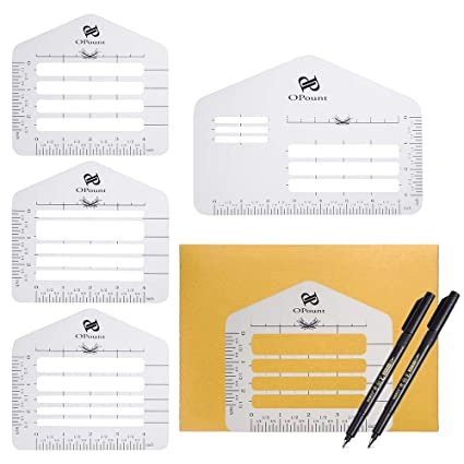4 Size Brush Pens Fits Wide Range of Envelopes PP OPOUNT 9Pieces Envelope Addressing Guide Includes 4 Styles Stencil Templates Party Invitations Festival Cards Thank You Card Wedding Invitations