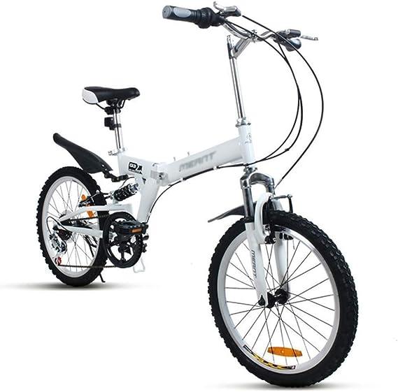 LWDDT Variable Bicicleta Plegable Bicicleta De Montaña Velocidad For Adultos For Niños Bicicletas De Ruta For Estudiantes Bicicletas De Pedales For Hombres Y Mujeres (Color : White, Size : 20inch): Amazon.es: Hogar