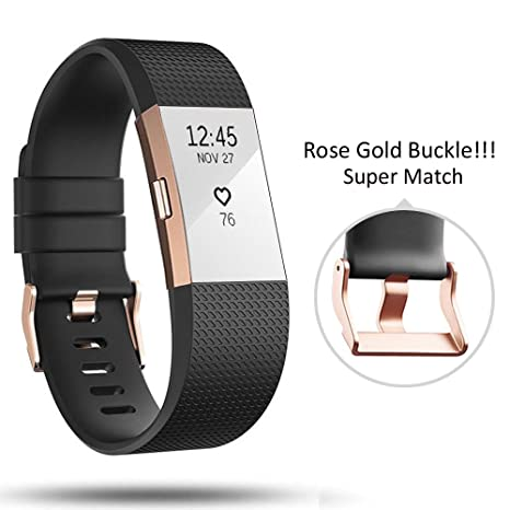Para Fitbit Charge 2 Correa de muñeca hebilla de Oro Rosa, DD Fitbit Accesorios de Silicona Ajustable para Fitbit Charge 2 Fitness Smartwatch