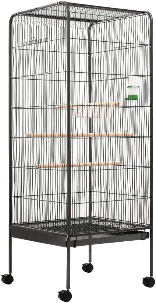 yorten Jaula Grande para Pájaros Pajarera Construcción de la Cuadrícula de Acero Gris 54x54x146 cm