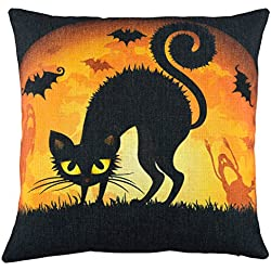 Elyhome 18x18 Inches Halloween Cotton Linen Decorative Throw Pillow Cover Black Cat Under the Moon Light