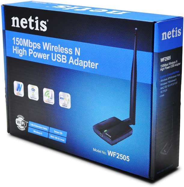 Power Amplifier Support to Boost Wireless Signal Wireless USB High Power Adapter Mac OS and Linux WF2505 802.11 b//g//n technology 150Mbps Network WiFi Dongle for PC//Desktop//Laptop Support Windows 10//8//8.1//7//Vista//XP MTK RT3070 Unique Chipset Features