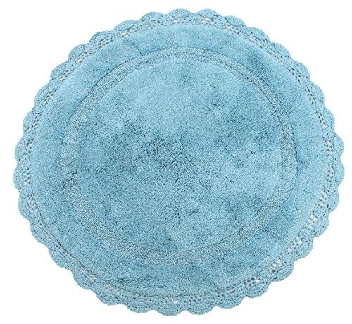 (WARISI - Round Crochet Collection - Designer, Plush Cotton Bath Rug, 36 inches (Aqua Blue))