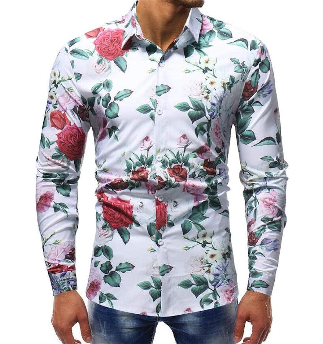 Twcx Men Stylish Floral Printing Long Sleeve Button Down Slim Lapel Dress Shirt