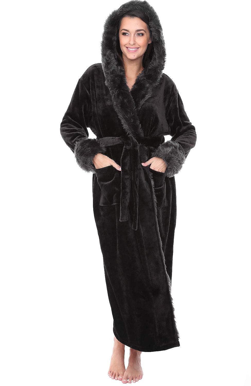 Black With Faux Fur Del Rossa Women's Fleece Robe, Long Hooded Bathrobe