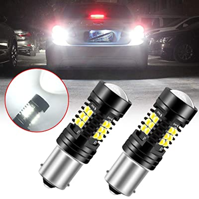 Sidaqi 1156 P21W 1003 1141 7506 BA15S LED Bulb 2-pack,Brilliant White 21-SMD with Double Lens 12V Work as Reversing Light Brake Light Tail Lights Position Driving Light: Automotive