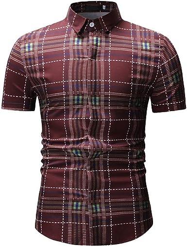 Palarn Mens Fashion Sports Shirts Mens Spring Winter Fashion Printed Casual Short Sleeve Slim Shirts Tops Blouse