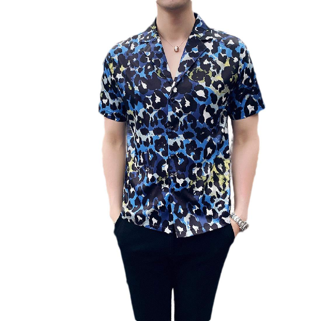 Zimaes-Men Floral Printed Short Sleeve Button Down Point Collar T-Shirts