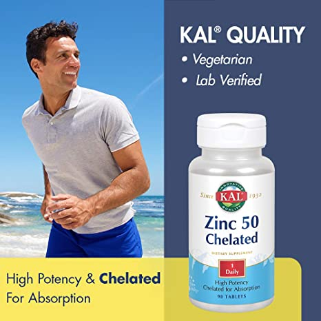 Amazon.com: kal Zinc 50 chelated Kal 90 pestañas: Health ...