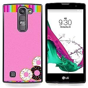 """Buñuelos Pink Glitter Rainbow dulces"""" - Metal de aluminio y de plástico duro Caja del teléfono - Negro - LG Magna / G4C / H525N H522Y H520N H502F H500F (G4 MINI,NOT FOR LG G4)"""