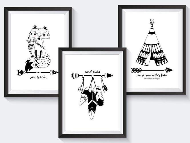 3er-Set Kinderzimmer Babyzimmer Poster Indianer Tiere | DIN A3 ...