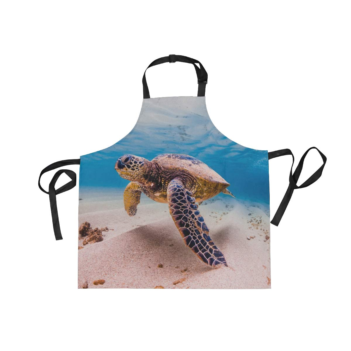 Adult Kitchen Aprons Ocean Marine Life Turtle Underwater Beach Bib Apron with Pockets for Women Men Adjustable Neck Apron Cooking Baking or Kitchen Gardening Unisex Apron,Twill,Multi-Pattern