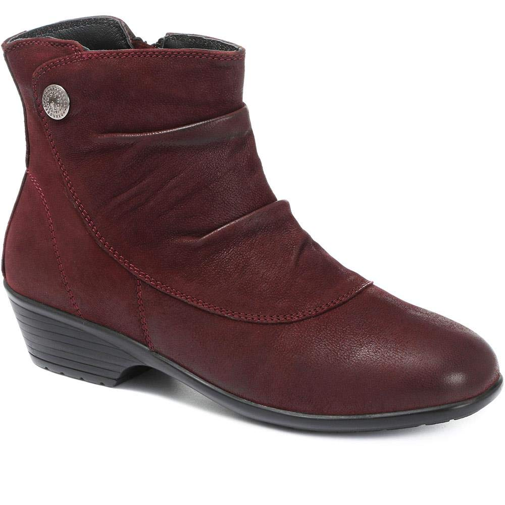 Pavers Ruched Leather Ankle Boots 316