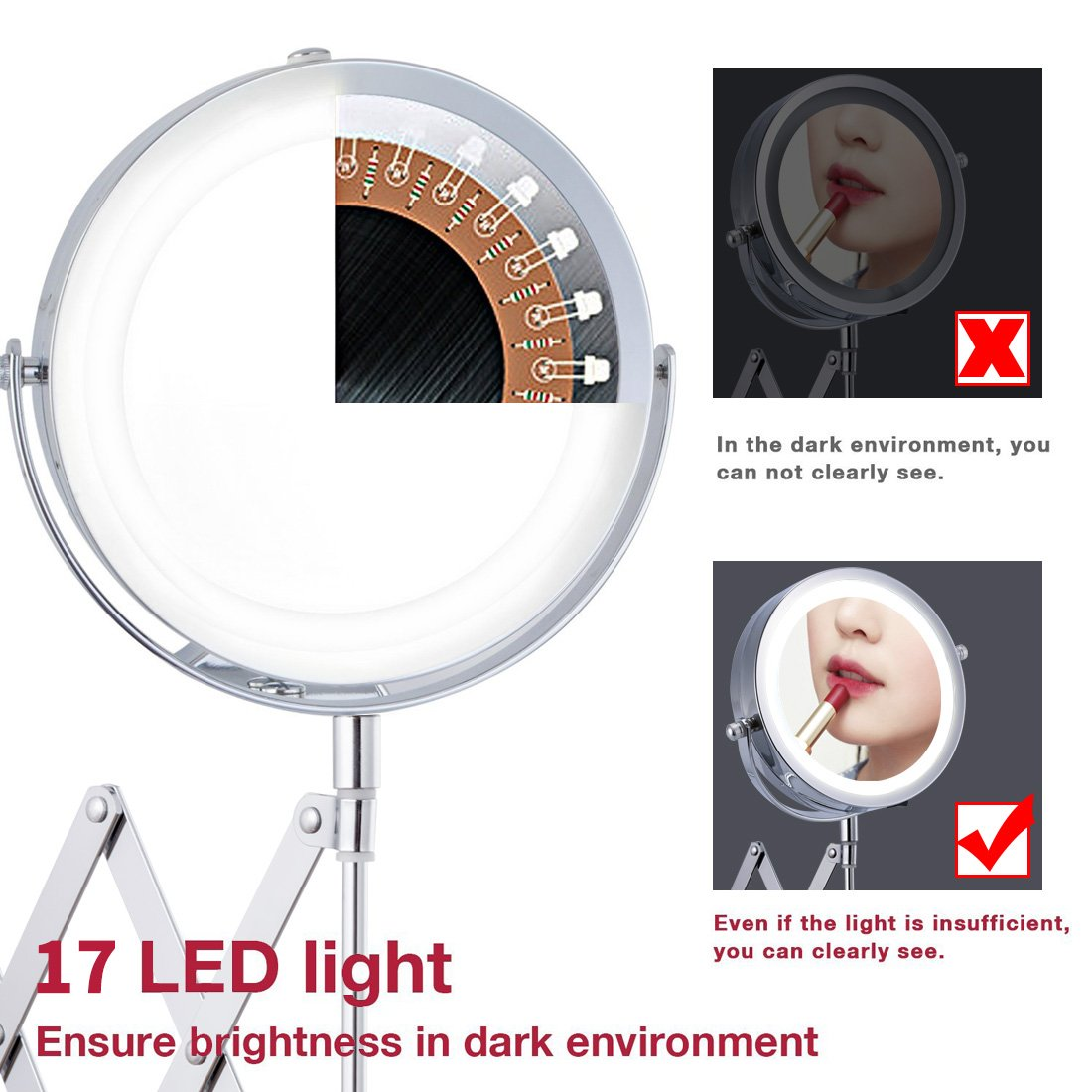 FIRMLOC Lighted LED Makeup Vanity Mirror 3X//1X Magnification Wall Mounted Double Side Adjustable Rotating Powered by 4 x AAA Batteries not Included