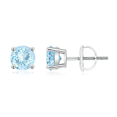 Angara Square Aquamarine Basket Stud Earrings in 14k Yellow Gold jgimfYekJZ