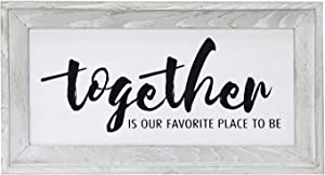 "Together is My Favorite Place to Be Rustic Wood Sign, Rustic Home Decor - Rustic Wall Art - Farmhouse Wall Decoration for Living Room, Kitchen, Bedroom, 14"" x 7.5"" Home Sign"