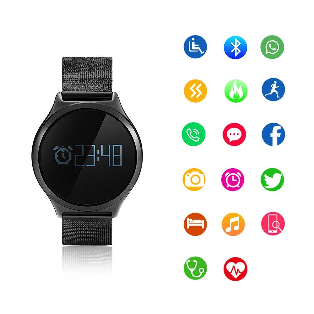 SoloKing Impermeable Reloj Deportivo con Espejo del Zafiro Acero Inoxidable Correa,Fitness Tracker Monitor de Ritmo Cardíaco y el Presión ...