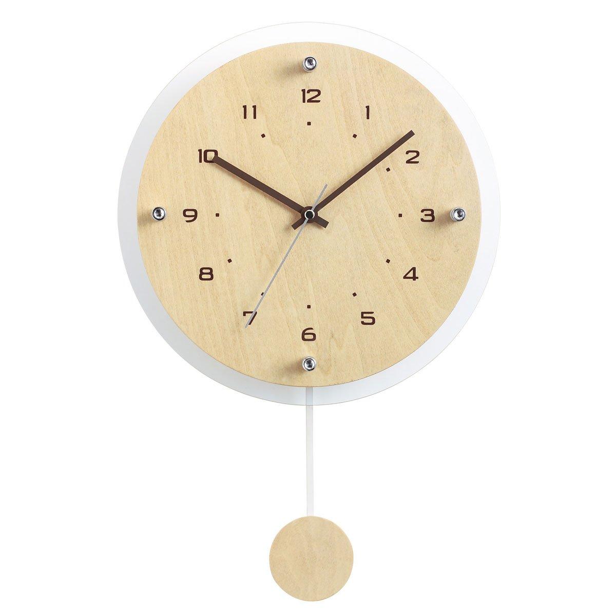 NOA (ノア) 電波時計 ウォールクロック アンティール 振り子時計 W-473 N ナチュラル B004GJUSI0