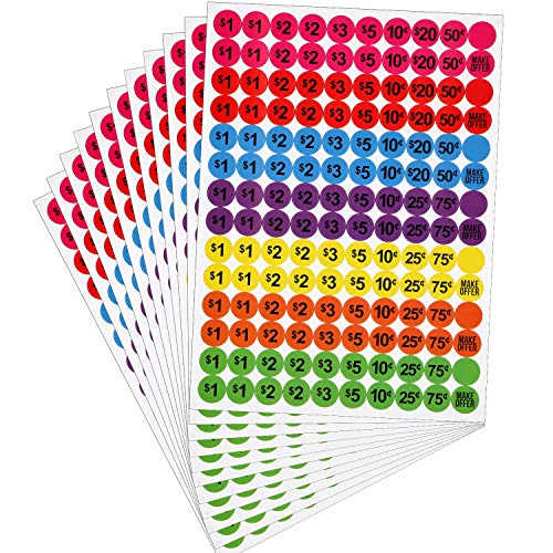 - 3080 Pieces Garage Sale Stickers Preprinted Pricing Labels Neon Removable Pricemarker Labels with Prices