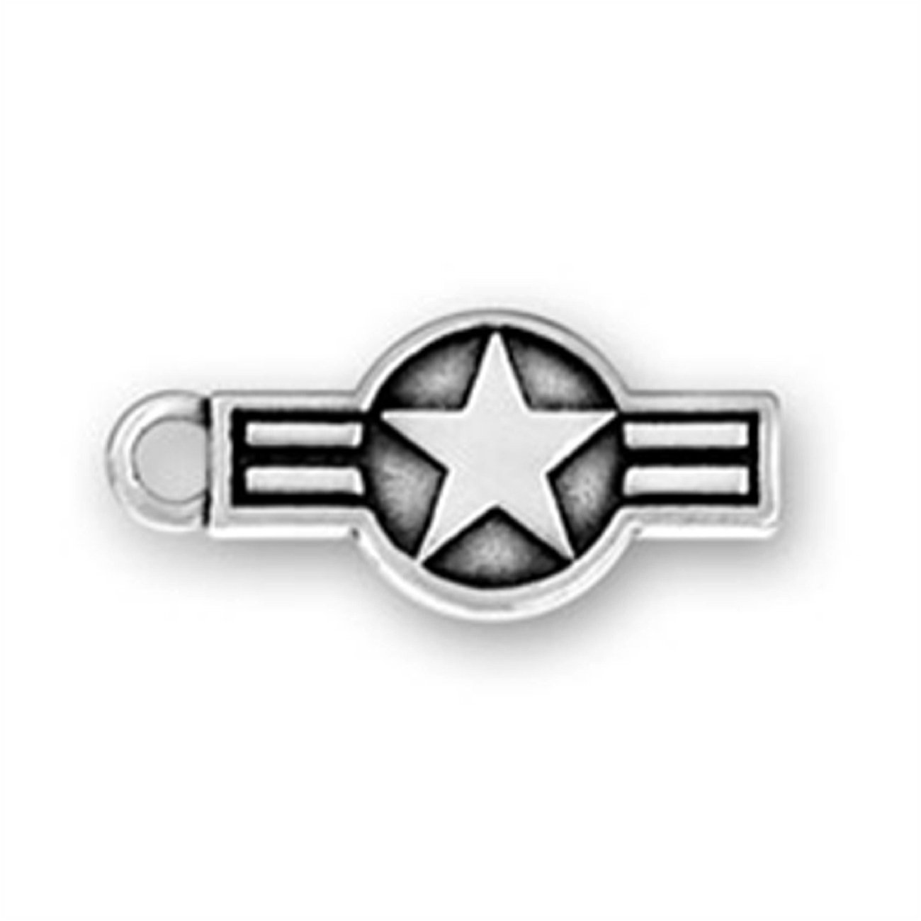 Sterling Silver Air Force Star Strips Insignia Dangle Charm Bead For Bead Charm Bracelet